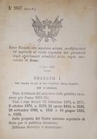 Decreto Regno Italia Ruolo Del Personale Stabilimenti Scientifici Di Roma 1884 - Old Paper