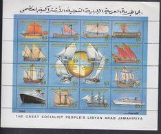 Libye N° 1822 / 37 XX Navires Célèbres Les 16  Valeurs Sans Charnière Imprimées En Une Feuille, TB - Libia