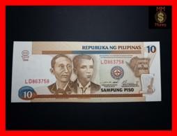 PHILIPPINES 10 Piso 1999 P. 187 F  Red Serial   UNC - Filippijnen