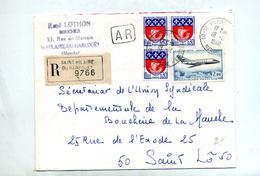 Lettre Recommandée Saint Hilaire Du Harcouet Sur Mystere Paris - Marcophilie (Lettres)