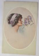 Künstlerkarte, Frauen, Mode, Flieder, 1910, Oilette ♥ (34983) - Mode