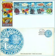 84394 - NEW ZEALAND - Postal History - Set Of 2 FDC COVERS 1996 BIRDS Bees   KIWI Food - Kiwi