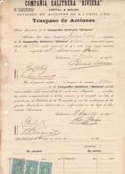 "COMPAÑIA SALITRERA ""RIVIERA"", TRASPASO DE ACCIONES. AÑO 1905 VALPARAISO, CHILE. SALTPETER,SALPETRE. -LILHU - Invoices & Commercial Documents"