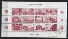 FRANCE 1942: Feuille De 12 Vignettes (11 Neufs** Et 1 Obl,) ''L'Art Et Le Timbre'' Avec Vues De Paris En Rouge-brun - Fantasie Vignetten