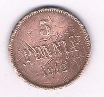 5 PENNIA 1912 FINLAND /4100/ - Finland