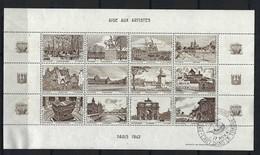 FRANCE 1942: Feuille De 12 Vignettes (11 Neufs** Et 1 Obl,) ''L'Art Et Le Timbre'' Avec Vues De Paris En Brun-noir - Fantasie Vignetten