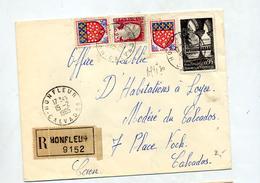 Lettre Recommandée Honfleur Sur Moissac Decaris - Marcophilie (Lettres)
