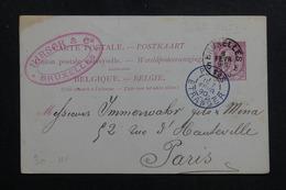 BELGIQUE - Entier Postal De Bruxelles Pour Paris En 1890 - L 61537 - Postales [1871-09]