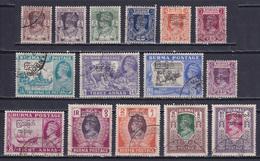 BURMA 1947, SG# 68-82, CV £45, George VI, Used - Birmania (...-1947)