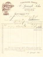 1893 Rechnung Der Schokoladen Fabrik R. Sprüngli - Switzerland