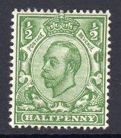 Great Britain GB George V 1912 ½d Green Downey Head, Wmk. Multiple Cypher, Hinged Mint, SG 346 - Nuevos