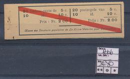 BELGIUM A10b UNE DES BANDES DU 10C EST EN DEUX MORCEAUX - Booklets 1907-1941
