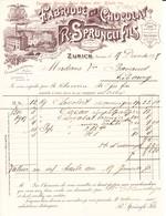 1897 Rechnung Der Schokoladen Fabrik R. Sprüngli. Zürich - Switzerland