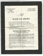 Militaria Lettre Avis De Décès Père Cent Grenoble 27 Bca Papier Double - Dokumente