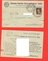 Venezia Mirano Federazione Fascista Commercio Cartolina Diffida Viaggiata 1936 Per Noale - Tiendas