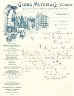 1901 Fotographisch Bedarfsartikel Georg Meyer & Co, Zürich Mit Bahnhof Gebäude - Switzerland