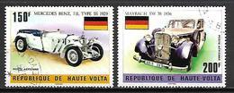 HAUTE VOLTA   -  Poste Aérienne  -  1975 . Y&T N°186 à 187 Oblitérés. Voitures Anciennes / Mercedes Benz / Maybach - Alto Volta (1958-1984)