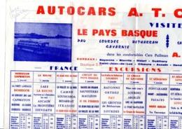 Autocars A T C R B Pays Basque Espagne Excursion Circuit Carte Plan Bayonne Ligne - Historical Documents