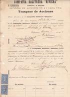 "COMPAÑIA SALITRERA ""RIVIERA"", TRASPASO DE ACCIONES. AÑO 1906 VALPARAISO, CHILE. SALTPETER,SALPETRE. -LILHU - Invoices & Commercial Documents"