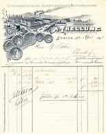 1898 Lithographische Kunstanstalt & Buchdruckerei A. Thellung In Zürich. Fabrik Und Bahnhof Gebäude Am See. - Switzerland