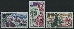 ST. PIERRE UND MIQUELON 489-91 **, 1973, Historische Persönlichkeiten, Prachtsatz, Mi. 45.- - St.Pierre & Miquelon