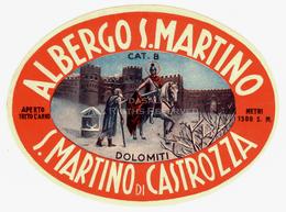 LOT004 - Vintage Hotel Label Luggage Albergo San Martino Di Castrozza Dolomiti Italy - Adesivi Di Alberghi