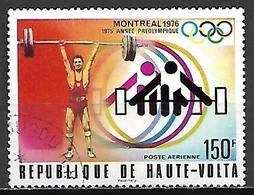 HAUTE VOLTA   -  Poste Aérienne  -  1976 .  Y&T N° 202 Oblitéré.  Haltérophilie - Alto Volta (1958-1984)