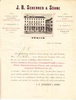 1877 Als Brief Gelaufene Rechnung J. B. Scherrer & Söhne, Zürcher Warenhalle: Leinen Und Baumwollgewebe Ect. - Switzerland