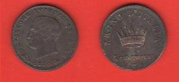 Napoleone 3 Centesimi 1810 Venezia Variante 1 Ribattuto Su 0 - Monete Transitorie