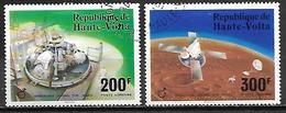 HAUTE VOLTA   -  Poste Aérienne  -  1976 . Y&T N°208 à 209 Oblitérés.    Opération Viking Sur Mars. - Alto Volta (1958-1984)