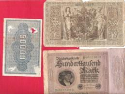 ALLEMAGNE Lot 3 Billets Inflation Reichsbanknote 1000 50000 100000Mark - 1918-1933: Weimarer Republik