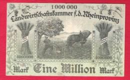 ALLEMAGNE Germany  Eine Million 1 000 000 Mark Landwirtschaftskammer F.d. Rheinprovinz 1923 - 1918-1933: Weimarer Republik