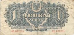 POLOGNE Narodowy Bank Polski 1 Jeden Zloty 1944 - Polonia