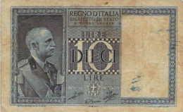 ITALIE Regno D'Italia 10 Dieci Lire 1939 - Italia – 10 Lire