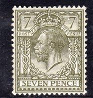 Great Britain GB George V 1912-24 7d Mackennal Head, Wmk. Simple Cypher, Lightly Hinged Mint, SG 387 - Nuevos