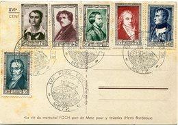 FRANCE SERIE NAPOLEON N°891/896 SUR CARTE DE LA XVIe FOIRE DE METZ  22 SEPT - 8 OCT 1951 FOCH 100 E ANNIVERSAIRE AVEC... - Francia