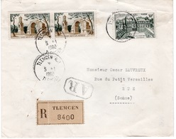 ALGERIE- ENVELOPPE RECOMMANDEE  - TLEMCEN - 5 JANVIER 1960 - Algérie (1962-...)
