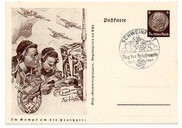 Im Kampf Um Die Freiheit Ganzsache Tag Der Briefmarke 1941 SSt Schweinfurt - Covers & Documents