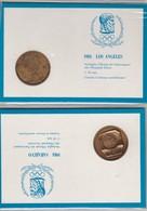 2 Medaglie Sportive Coniate In Bronzo Antichizzato Emesse In Occasione Di Sarajevo1984 E Los Angeles 1984 - Andere