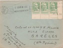 Yvert 809 X 3 Coin Daté 11/5/1950  Gandon Lettre Cachet Flamme St Jean De Luz Basses Pyrénées 20/8/1950 à Barèges Hautes - Marcophilie (Lettres)
