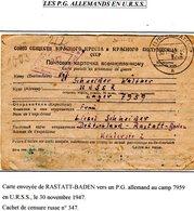 RUSSIE CCCP PRISONNIER DE GUERRE EN FRANCHISE De L'Allemagne Rastatt Baden Vers Lager 7959 + Censure  PRIX FIXE !!!1947 - Dokumente