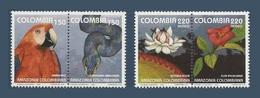 Colombie 1993 Yv. 1004/1005 ** + PA 867/868 ** Faune Flore De L'Amazonie Colombienne Perroquet Anaconda Nenuphar Parrot - Colombie