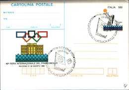 59955) ITALIA-INTERO POSTALE FDC DA 550L.Riccione 1988 - Cartolina Postale - CON ANNULLO SPECIALE 28 Agosto 1988 - Postwaardestukken