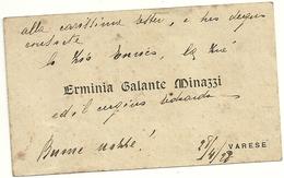 VARESE   1928  BIGLIETTO DA  VISITA  SCRITTO  -  ERMINIA  GALANTE  MINAZZI - Seals Of Generality