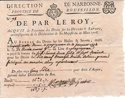 1716 - DROITS Sur Les HUILES & SAVONS - Acquit De Paiement Au Bureau établi à LA PORTE NOTRE-DAME à PERPIGNAN - Documents Historiques