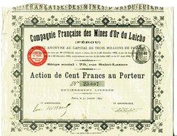 COMPAGNIE FRANCAISE Des MINES D'OR Du LUICHO (Pérou) - Mines
