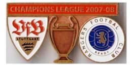 "Badge Pin: UEFA Champions League 2007-08  "" VfB Stuttgart "" Germany -  "" Rangers FC Glasgow "" Scotland - Football"