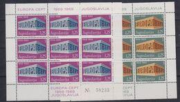 Europa Cept 1969 Yugoslavia 2v 2 Sheetlets TYPE II ** Mnh (47834) - Europa-CEPT