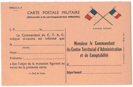 FRANCHISE MILITAIRE VIERGE : CARTE POSTALE MILITAIRE CTAC MONSIEUR LE COMMANDANT DU CENTRE TERRITORIAL D'ADMINISTRATION - Marcophilie (Lettres)