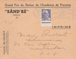 """Yvert 883 Gandon Seul Sur Lettre Entête A Suarnet """" SÂND'RE """" Roman Cachet Flamme PROVINS Seine Et Marne - Marcophilie (Lettres)"""